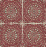 RY30710 red mandala tile rustic wallpaper from the Boho Rhapsody collection by Seabrook Designs