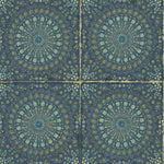 RY30712 blue mandala tile rustic wallpaper from the Boho Rhapsody collection by Seabrook Designs