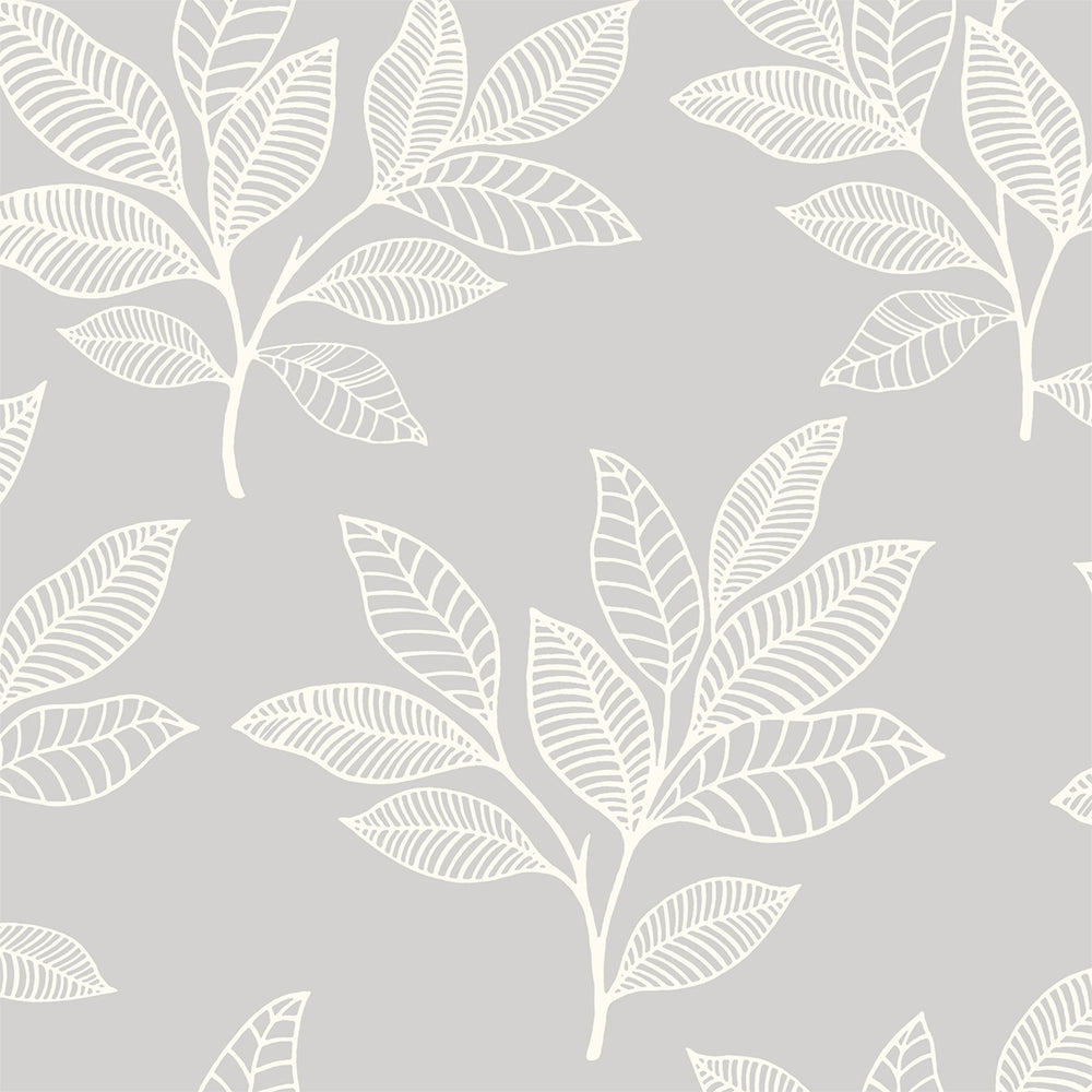 RY30800 gray paradise leaves botanical wallpaper from the Boho Rhapsody collection by Seabrook Designs