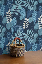 RY30902 tropicana leaves botanical wallpaper basket from the Boho Rhapsody collection by Seabrook Designs