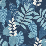 RY30902 blue tropicana leaves botanical wallpaper from the Boho Rhapsody collection by Seabrook Designs