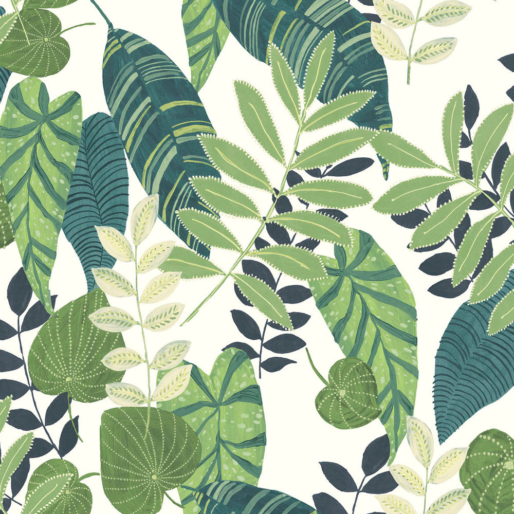 RY30904 green tropicana leaves botanical wallpaper from the Boho Rhapsody collection by Seabrook Designs