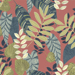 RY30906 red tropicana leaves botanical wallpaper from the Boho Rhapsody collection by Seabrook Designs