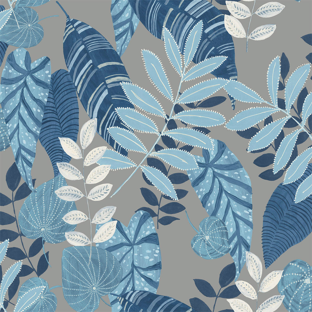 RY30912 silver tropicana leaves botanical wallpaper from the Boho Rhapsody collection by Seabrook Designs