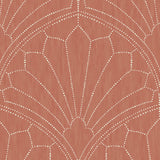 RY31501 red scallop medallion geometric wallpaper from the Boho Rhapsody collection by Seabrook Designs