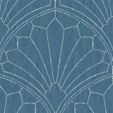 RY31502 blue scallop medallion geometric wallpaper from the Boho Rhapsody collection by Seabrook Designs