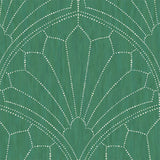 RY31504 green scallop medallion geometric wallpaper from the Boho Rhapsody collection by Seabrook Designs