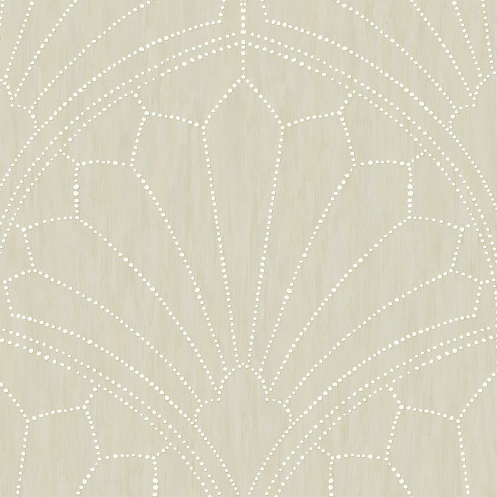 RY31505 neutral scallop medallion geometric wallpaper from the Boho Rhapsody collection by Seabrook Designs