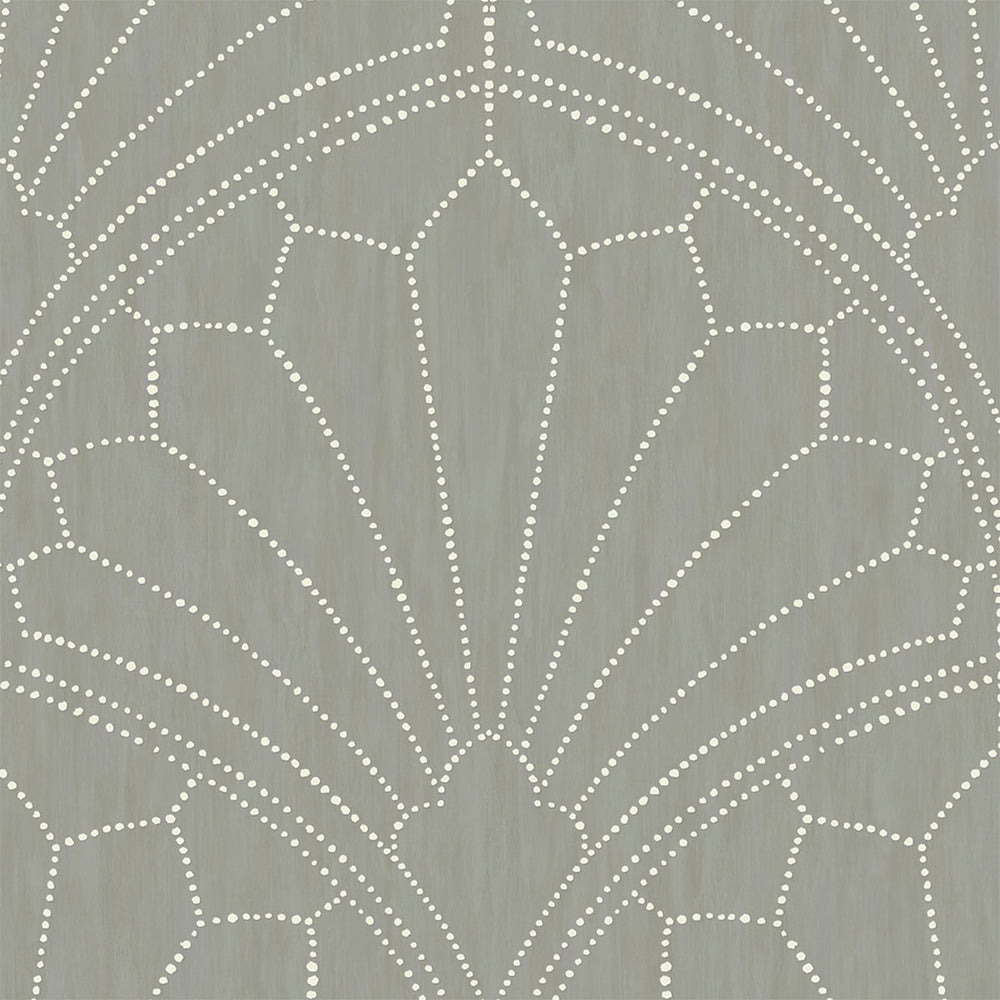 RY31515 gray scallop medallion geometric wallpaper from the Boho Rhapsody collection by Seabrook Designs