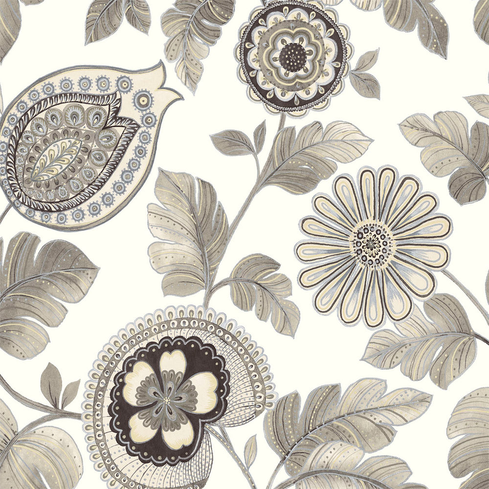 Seabrook Designs Boho Rhapsody Stone and Latte Calypso Paisley Leaf Fabric