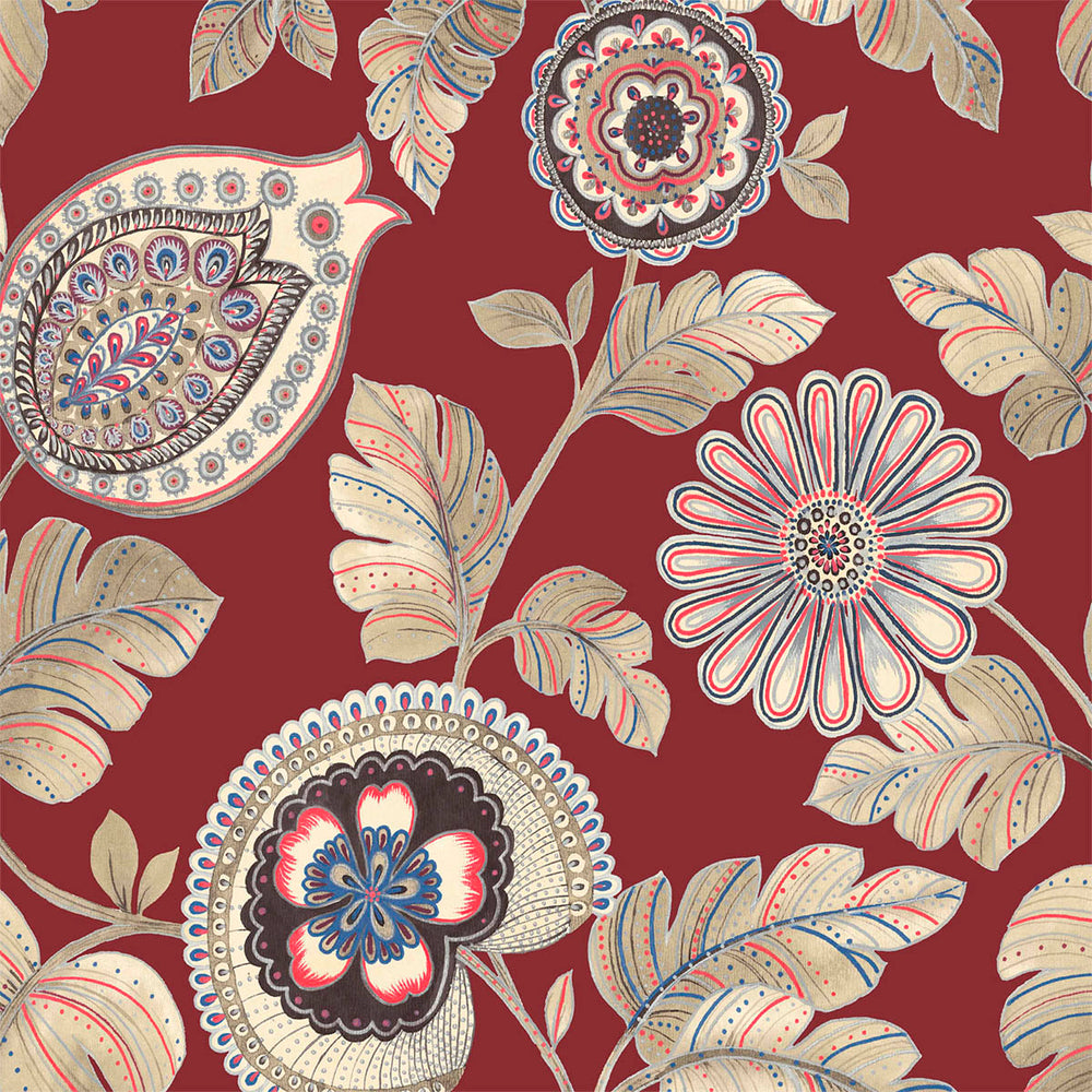 Seabrook Designs Boho Rhapsody Cabernet and Coral Calypso Paisley Leaf Fabric