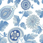 Seabrook Designs Boho Rhapsody Blue Oasis and Ivory Calypso Paisley Leaf Fabric