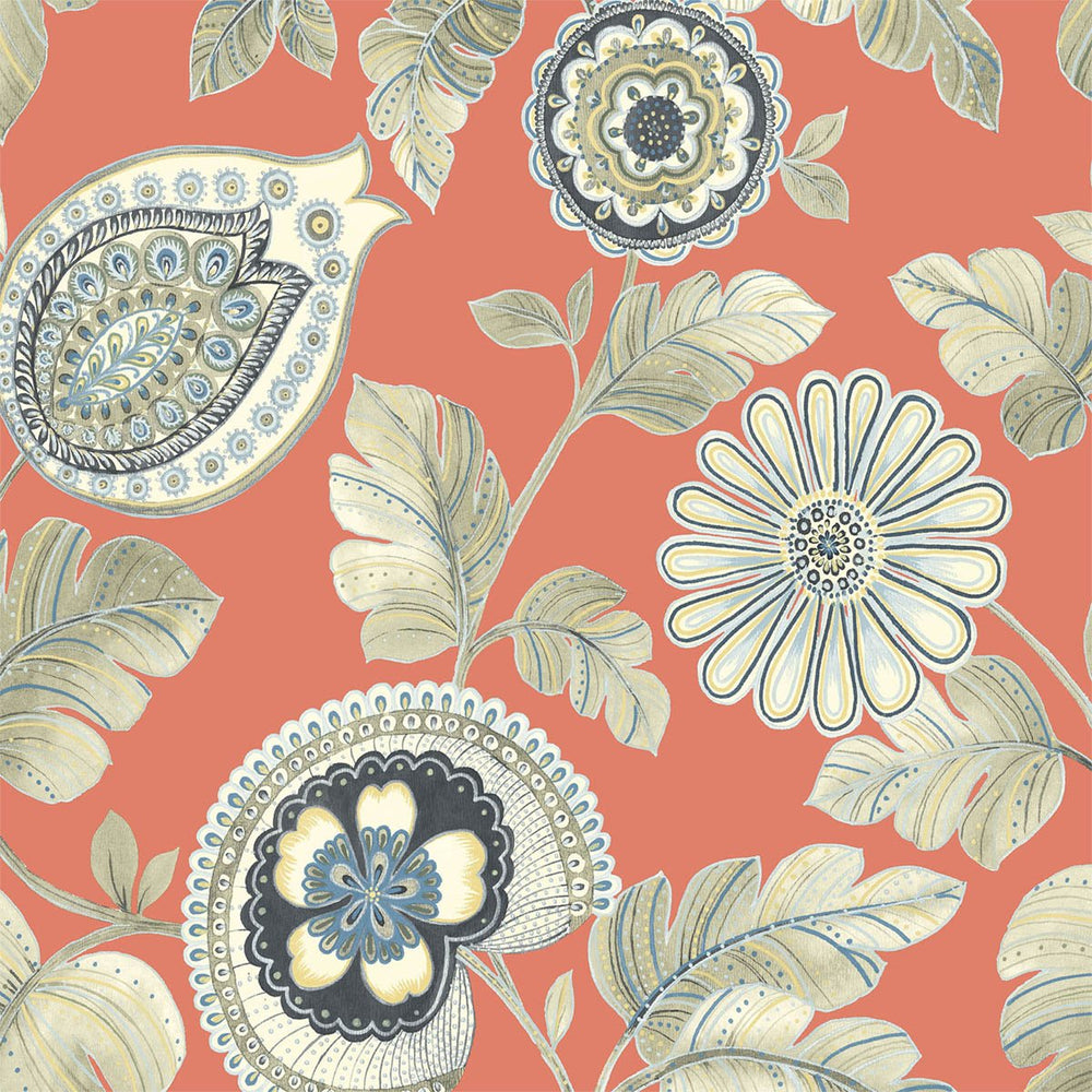 Seabrook Designs Boho Rhapsody Coral and Aloe Calypso Paisley Leaf Fabric