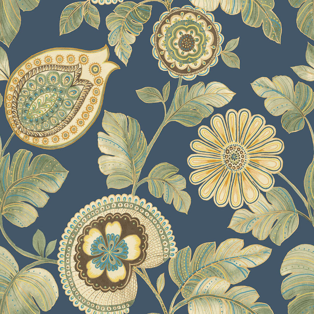RY31912F paisley leaf botanical fabric from the Boho Rhapsody collection by Seabrook Designs