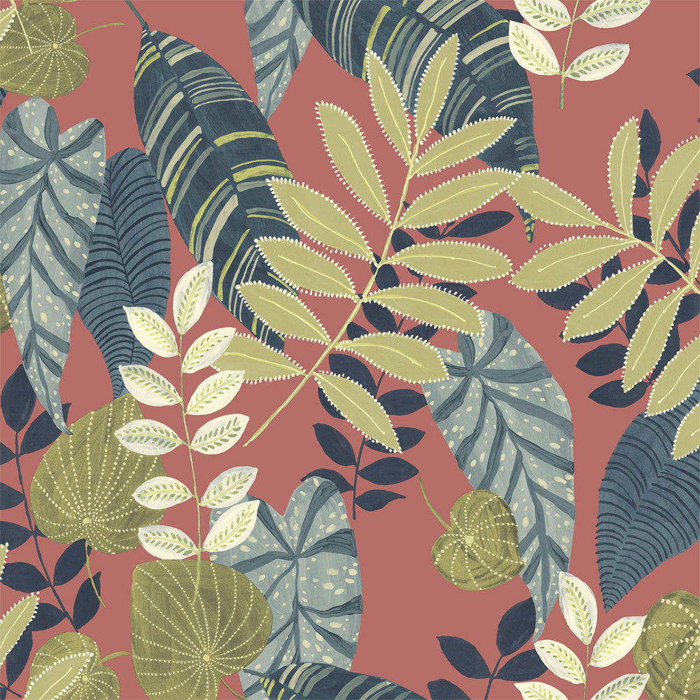 Seabrook Designs Boho Rhapsody Redwood and Olive Tropicana Leaves Fabric