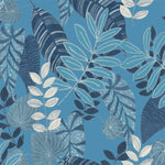 Seabrook Designs Boho Rhapsody Sky Blue and Champlain Tropicana Leaves Fabric