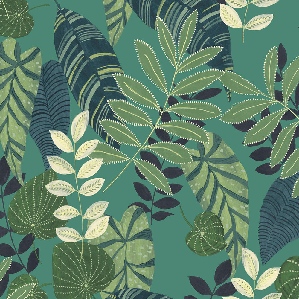 Seabrook Designs Boho Rhapsody Jade and Rosemary Tropicana Leaves Fabric