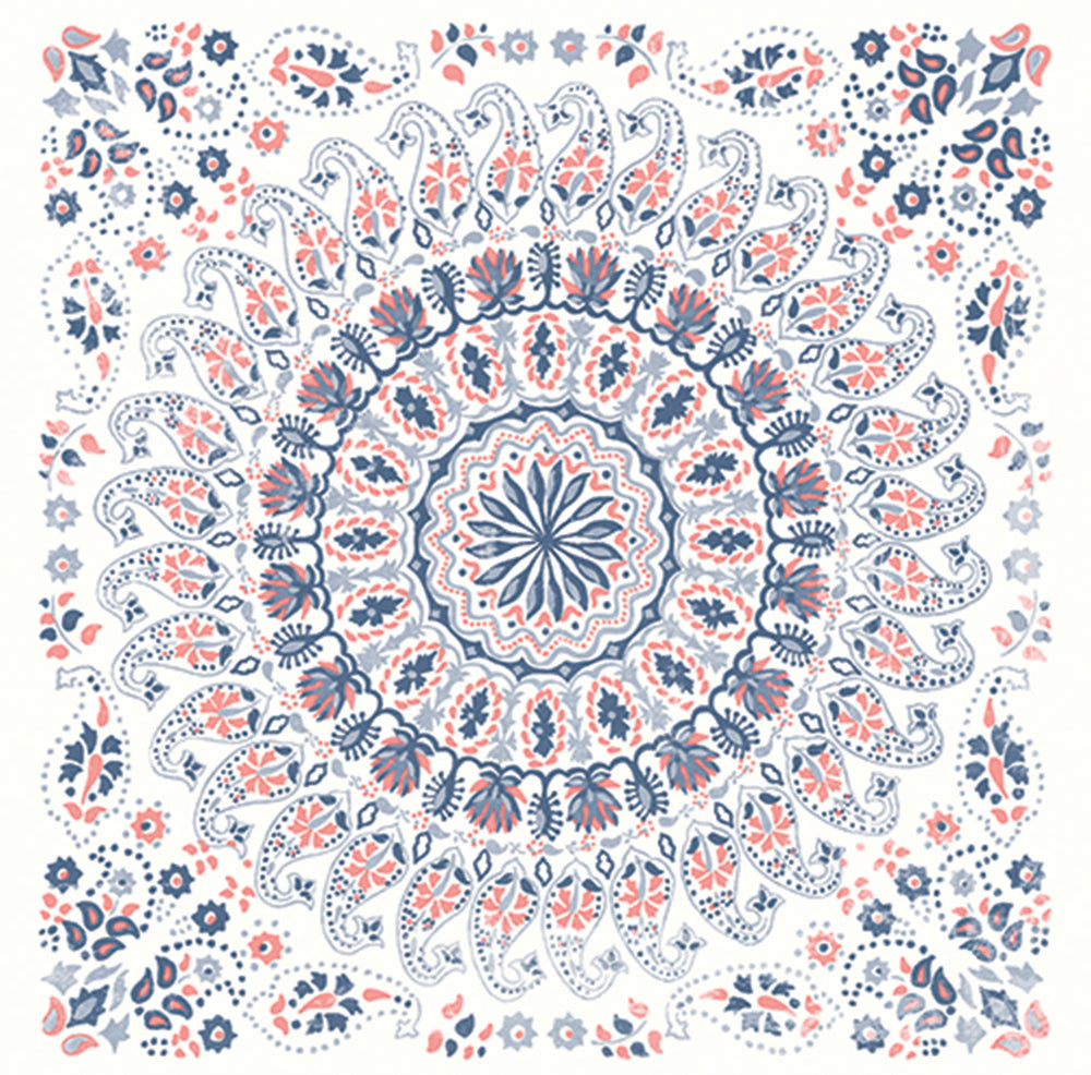 Seabrook Designs Boho Rhapsody Coral and Midnight Blue Mandala Tile Fabric