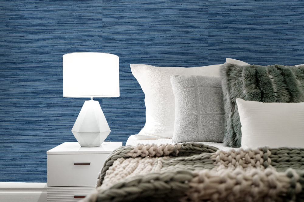 SG10202 faux grasscloth peel and stick removable wallpaper bedroom from The Sojourn Collection by Stacy Garcia Home