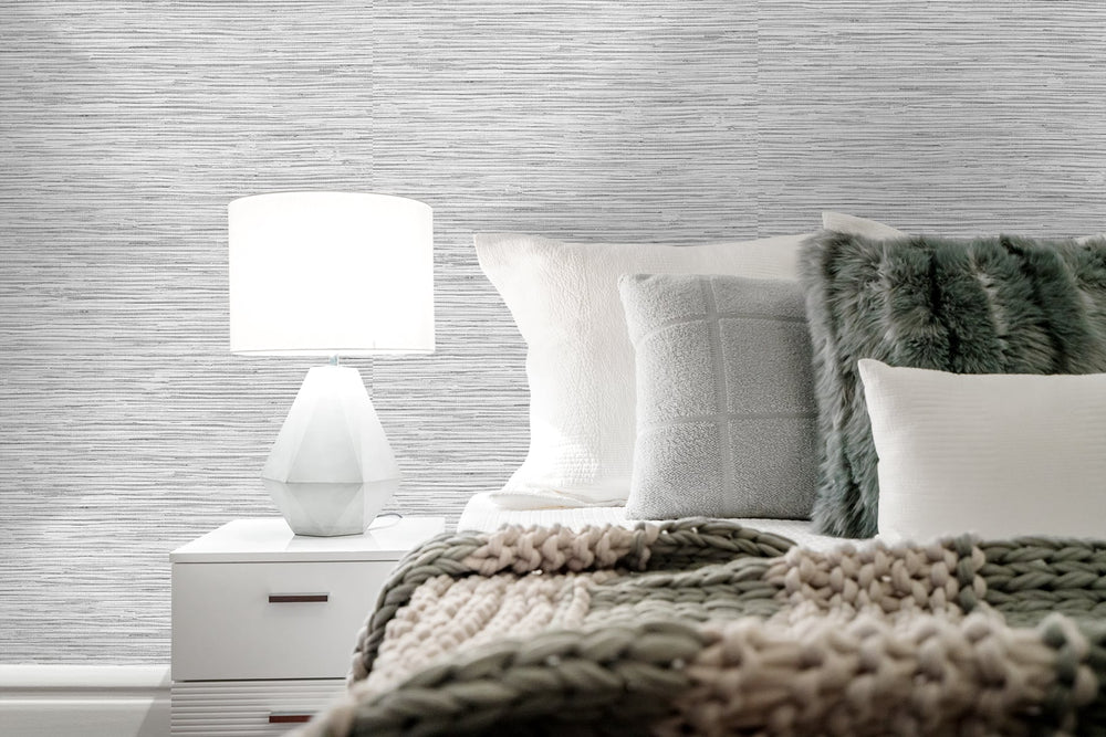 SG10208 faux grasscloth peel and stick removable wallpaper bedroom from The Sojourn Collection by Stacy Garcia Home
