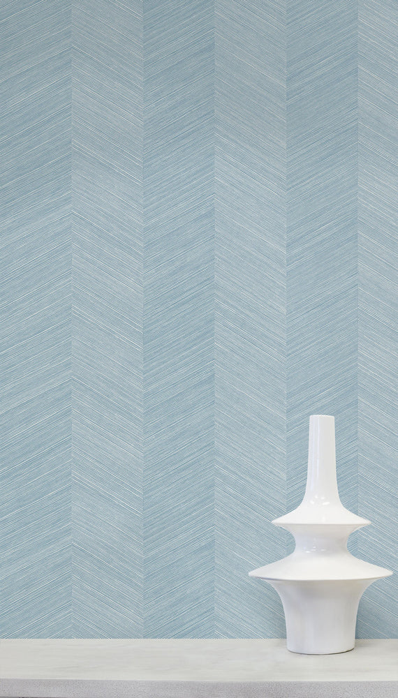TC70102 vase blue chevy hemp embossed vinyl wallpaper from the More Textures collection by Seabrook Designs