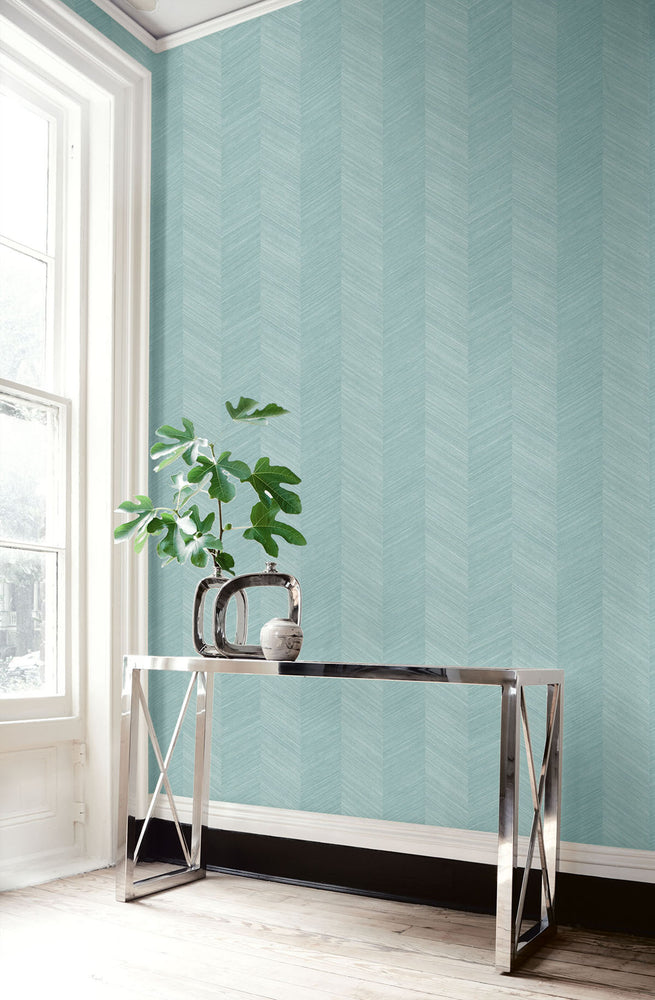TC70104 table teal chevy hemp embossed vinyl wallpaper from the More Textures collection by Seabrook Designs
