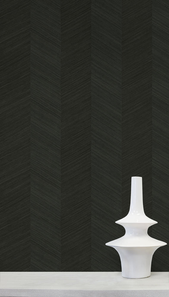 TC70110 vase black chevy hemp embossed vinyl wallpaper from the More Textures collection by Seabrook Designs