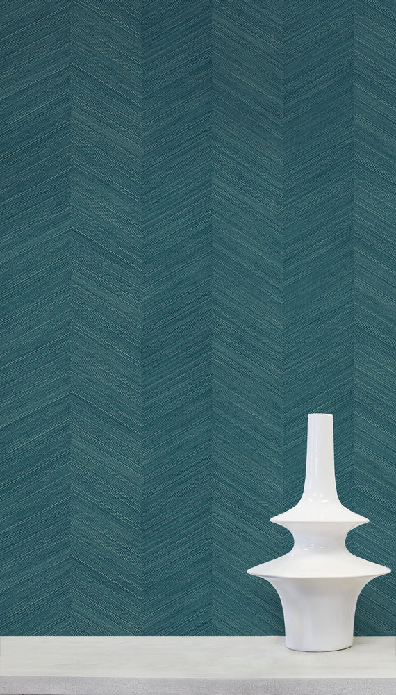 TC70114 vase teal chevy hemp embossed vinyl wallpaper from the More Textures collection by Seabrook Designs