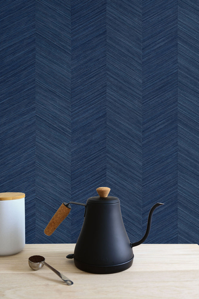 TC70122 kitchen blue chevy hemp embossed vinyl wallpaper from the More Textures collection by Seabrook Designs
