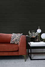 TC70300 couch black shantung silk embossed vinyl wallpaper from the More Textures collection by Seabrook Designs