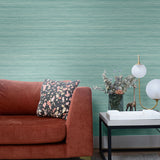 TC70302 sofa teal shantung silk embossed vinyl wallpaper from the More Textures collection by Seabrook Designs
