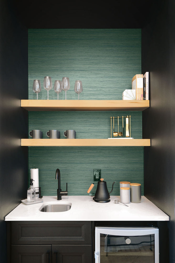 TC70304 wet bar green shantung silk embossed vinyl wallpaper from the More Textures collection by Seabrook Designs