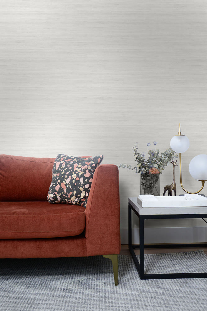 TC70310 sofa white shantung silk embossed vinyl wallpaper from the More Textures collection by Seabrook Designs