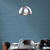 TC70312 dining room blue shantung silk embossed vinyl wallpaper from the More Textures collection by Seabrook Designs