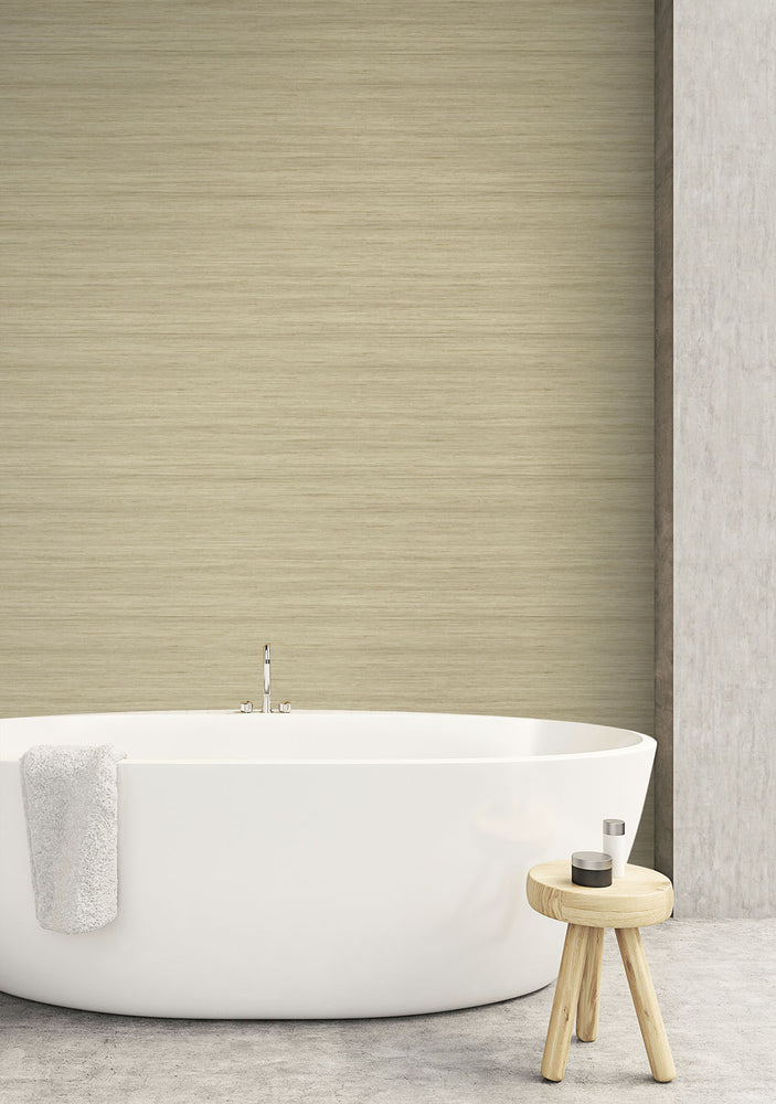TC70313 bathroom tan shantung silk embossed vinyl wallpaper from the More Textures collection by Seabrook Designs