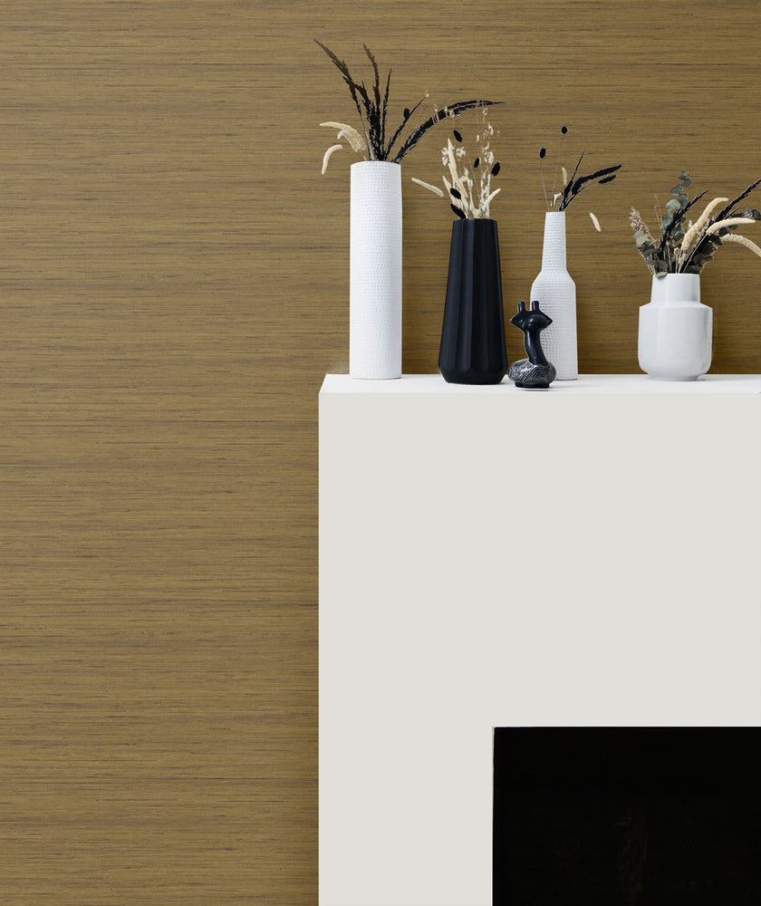 TC70317 fireplace neutral shantung silk embossed vinyl wallpaper from the More Textures collection by Seabrook Designs
