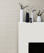 TC70318 fireplace white shantung silk embossed vinyl wallpaper from the More Textures collection by Seabrook Designs