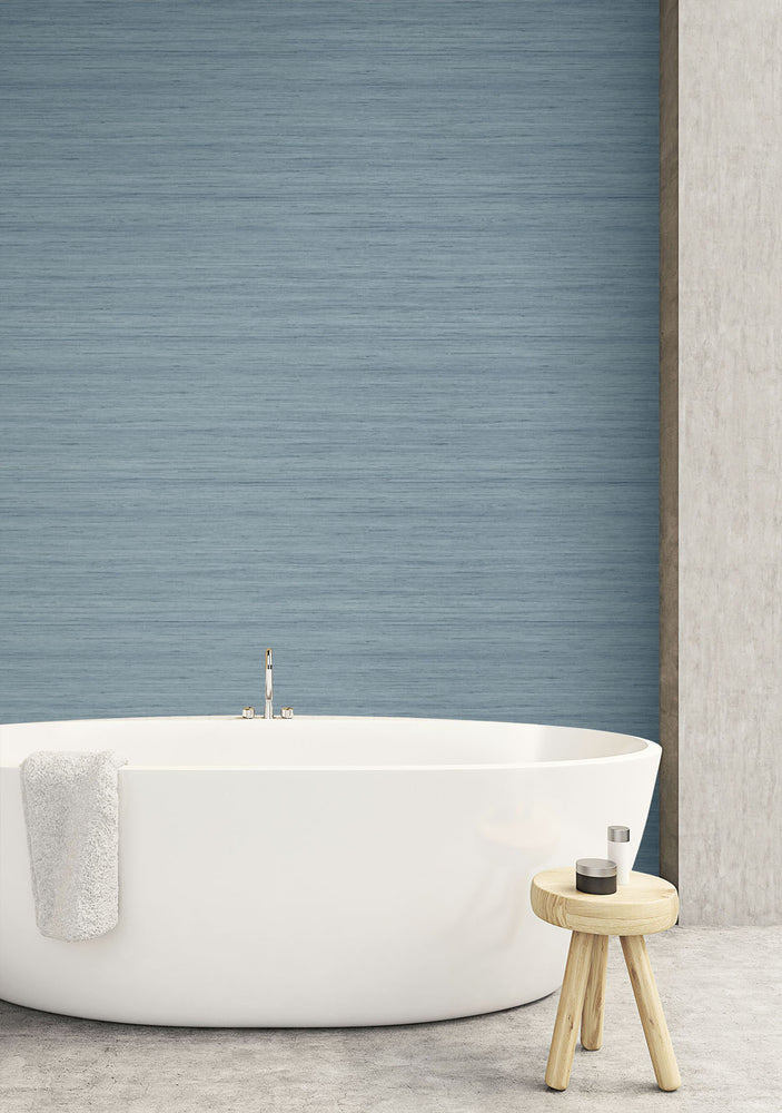 TC70332 bathroom blue shantung silk embossed vinyl wallpaper from the More Textures collection by Seabrook Designs