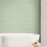 TC70334 bathroom green shantung silk embossed vinyl wallpaper from the More Textures collection by Seabrook Designs