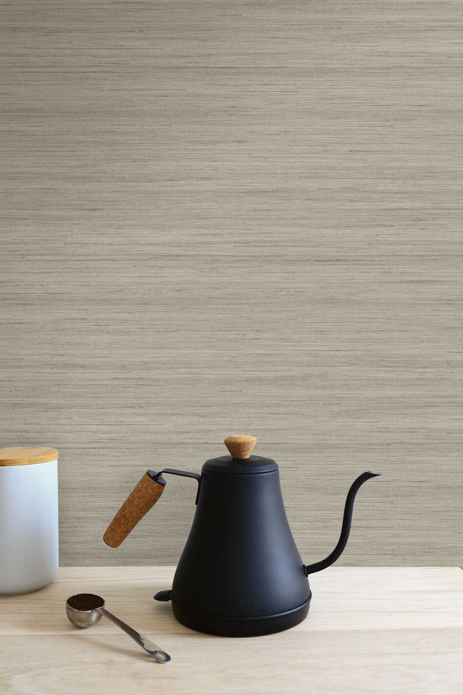 TC70337 kitchen gray shantung silk embossed vinyl wallpaper from the More Textures collection by Seabrook Designs