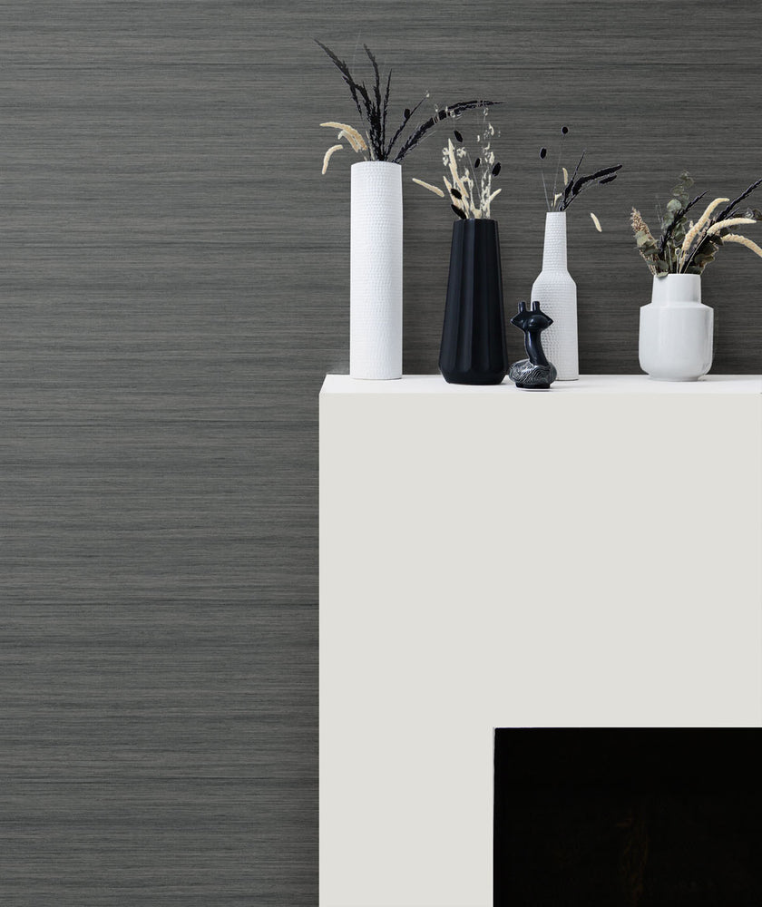 TC70358 fireplace gray shantung silk embossed vinyl wallpaper from the More Textures collection by Seabrook Designs