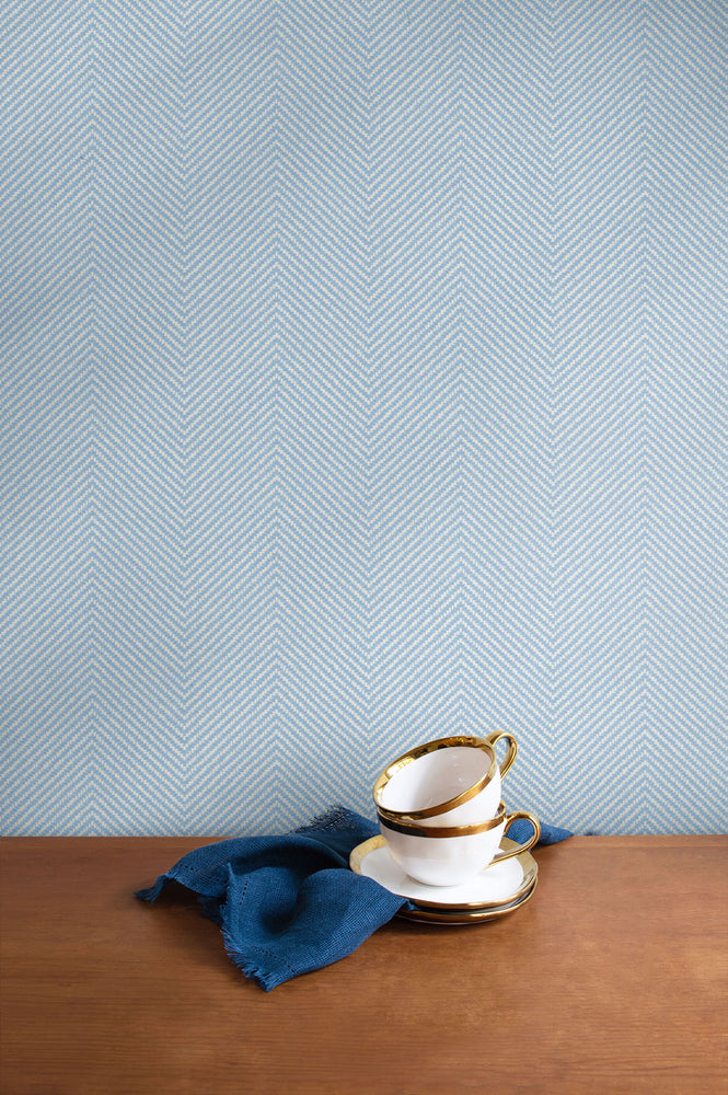 TC70402 kitchen blue cafe chevron embossed vinyl wallpaper from the More Textures collection by Seabrook Designs