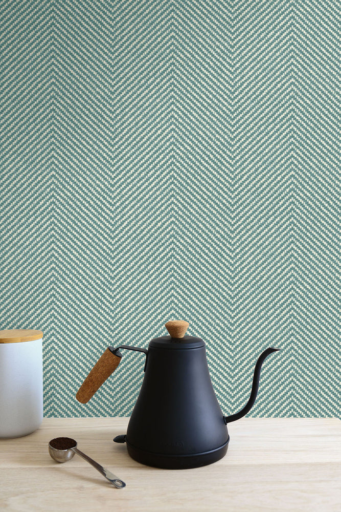 TC70404 kitchen green cafe chevron embossed vinyl wallpaper from the More Textures collection by Seabrook Designs