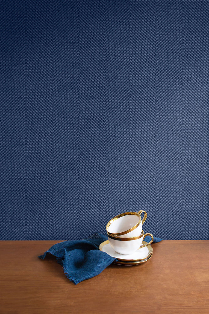 TC70412 kitchen blue cafe chevron embossed vinyl wallpaper from the More Textures collection by Seabrook Designs