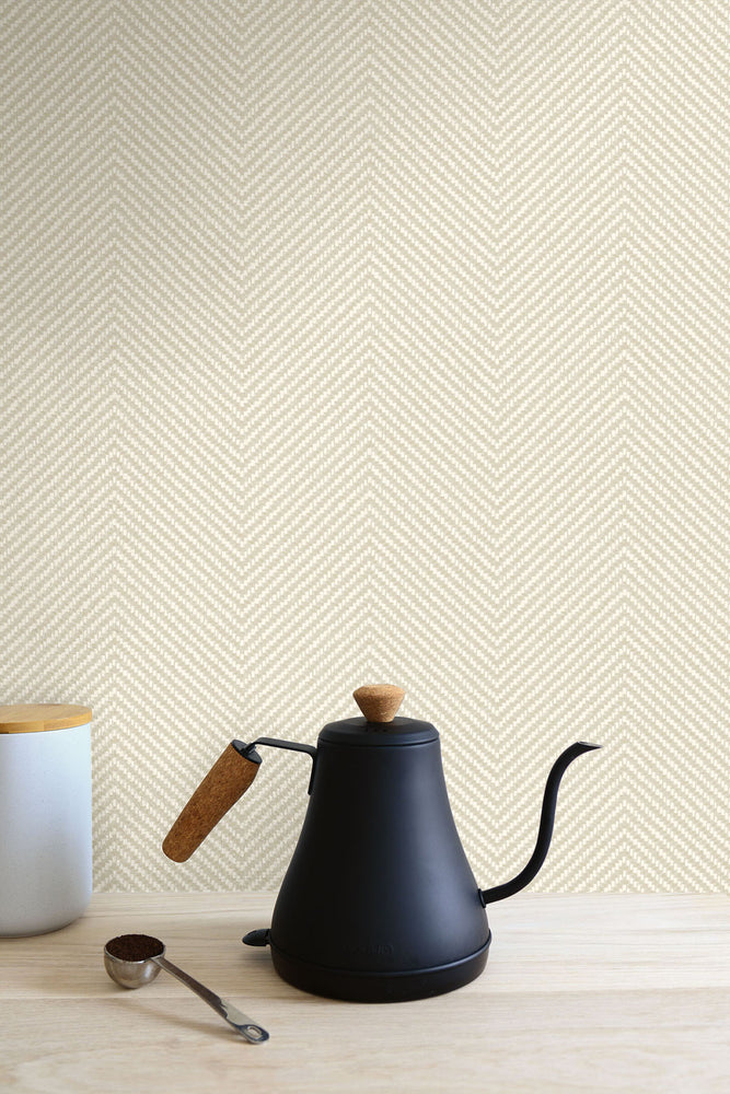 TC70415 kitchen ivory cafe chevron embossed vinyl wallpaper from the More Textures collection by Seabrook Designs