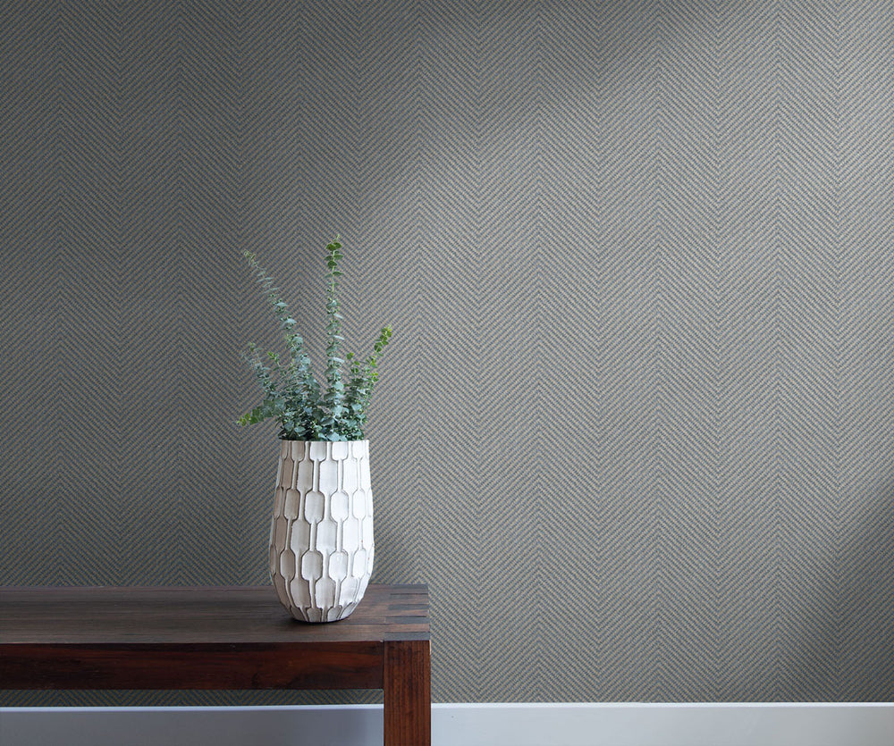 TC70428 bench gray cafe chevron embossed vinyl wallpaper from the More Textures collection by Seabrook Designs