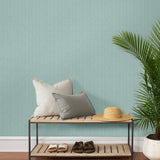 TC70502 entry teal seagrass weave embossed vinyl wallpaper from the More Textures collection by Seabrook Designs