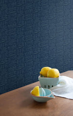 TC70512 kitchen blue seagrass weave embossed vinyl wallpaper from the More Textures collection by Seabrook Designs