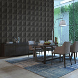 TC70600 dining room black squared away geometric embossed vinyl wallpaper from the More Textures collection by Seabrook Designs