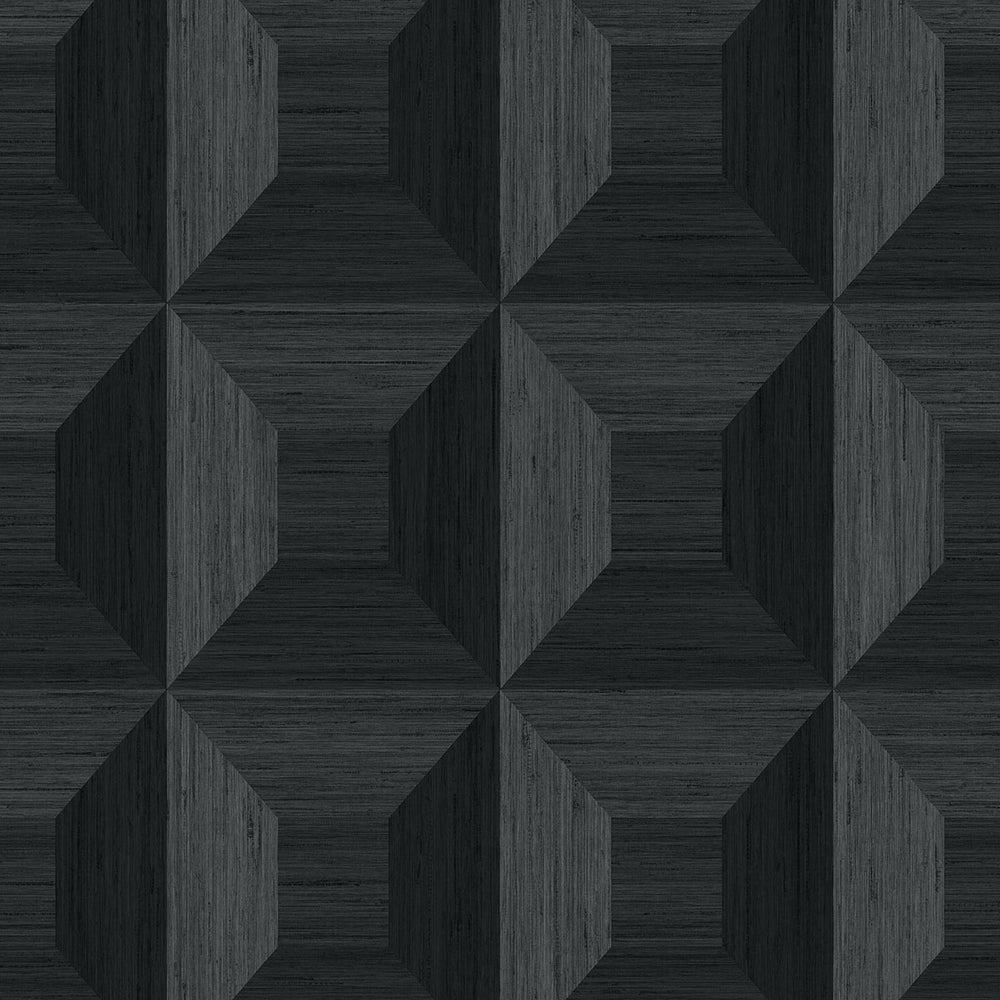 TC70600 black squared away geometric embossed vinyl wallpaper from the More Textures collection by Seabrook Designs